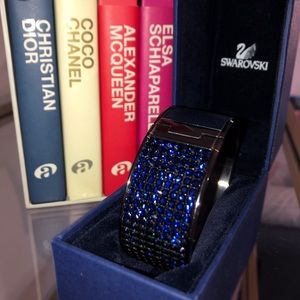 Navy Swarovski Crystal & Leather Bracelet